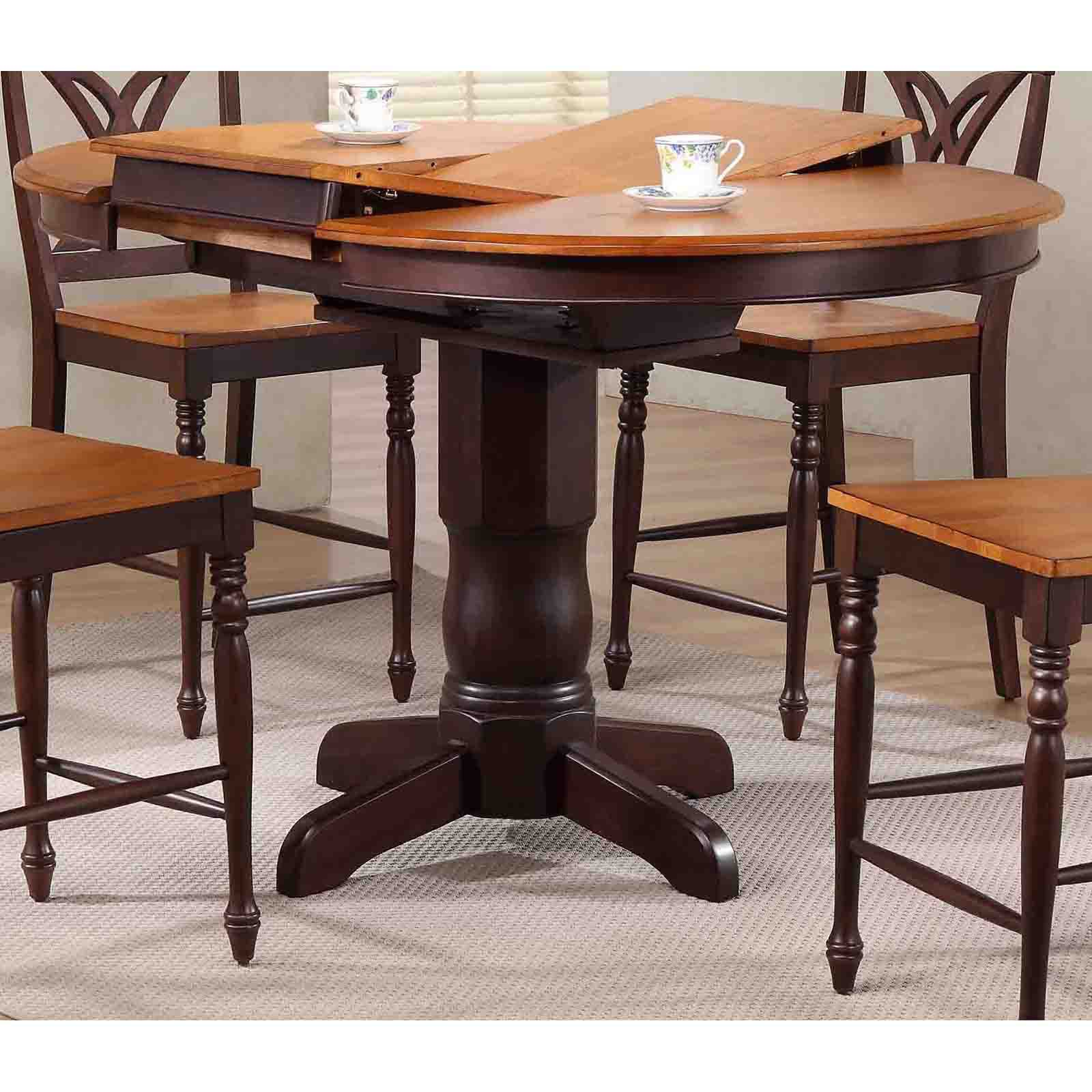 Iconic Furniture 42 in. Round Counter Height Dining Table with Extension Leaf