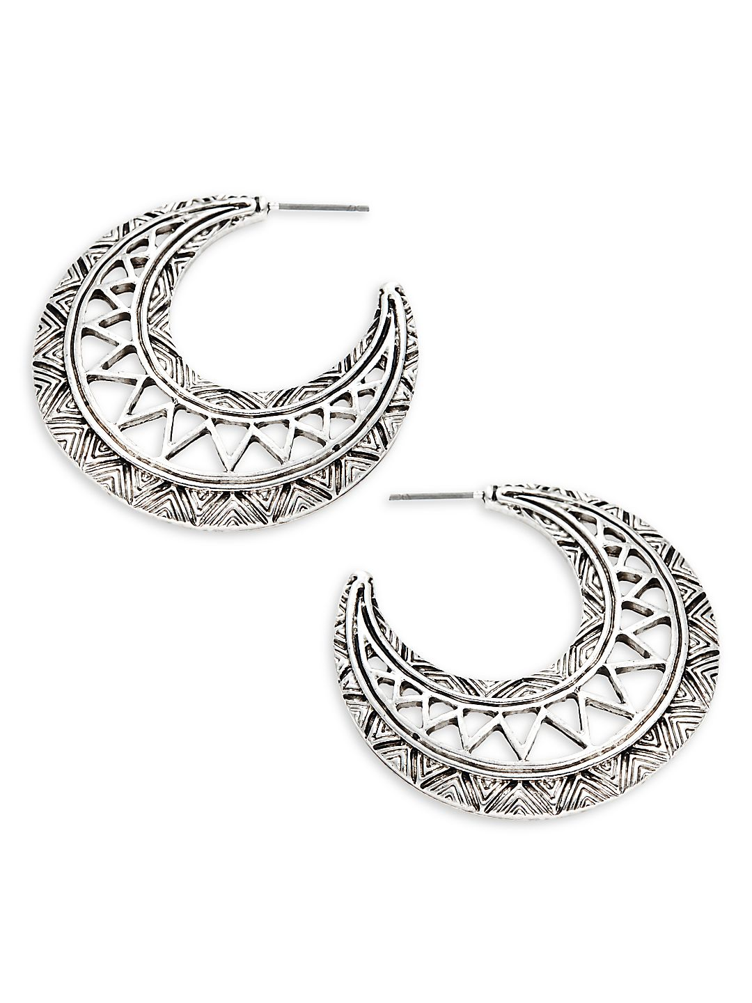 Textured Moon Earrings