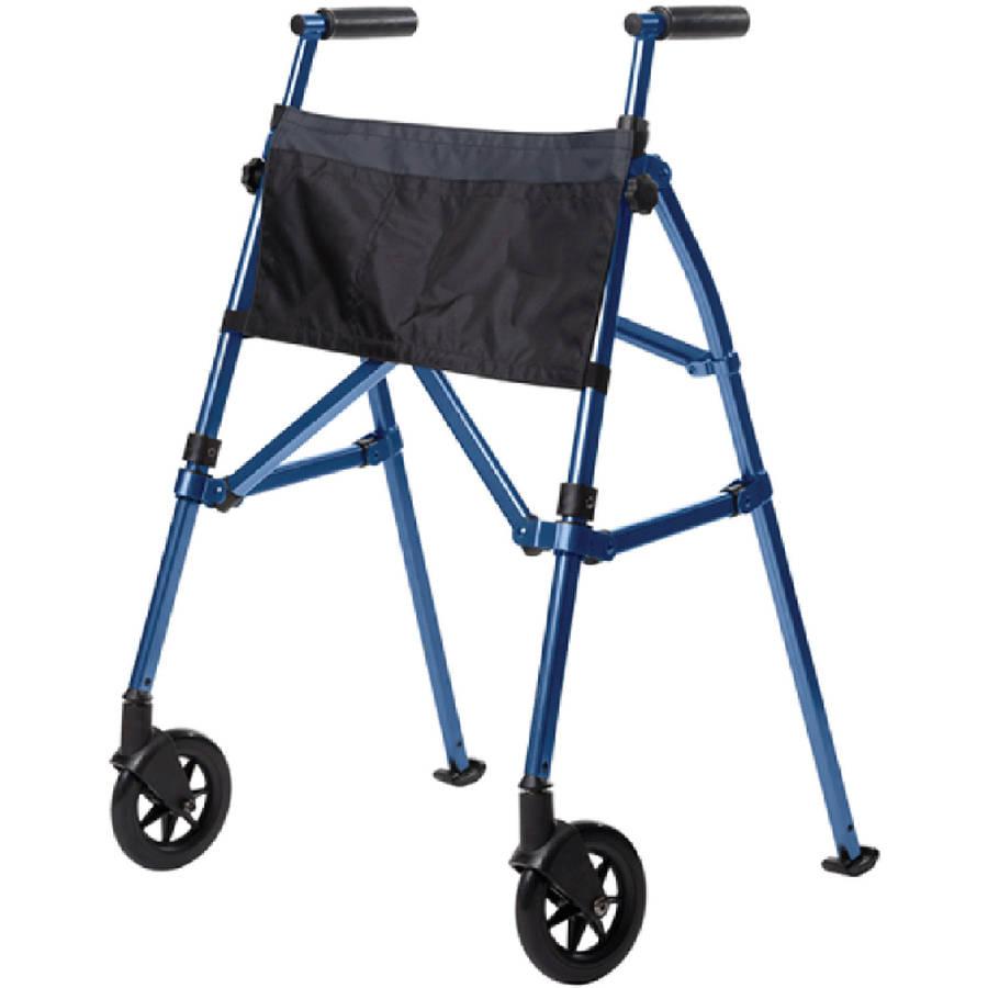 Stander EZ Fold N' Go Walker- Height Adjustable Lightweight Travel Walker - Black Walnut, 7.5 lbs