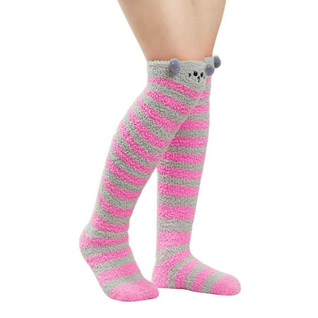 Sock Hop Girl (Winter Socks, Coxeer Kitten Over the Knee High Fuzzy Cozy Socks Cute Home Sock for Girls)