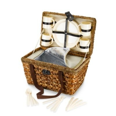 Bamboo 21-Piece Insulated Picnic Basket