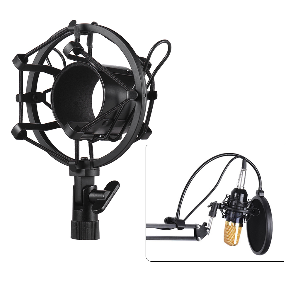 Metal Univerdal Condenser Microphone Mic Shock Mount Holder Bracket Anti-vibration for On-line Broadcasting Studio Music Recording