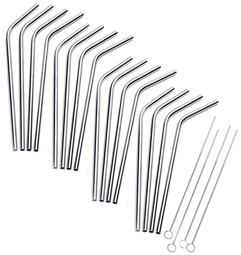 CocoStraw 16qty Stainless Steel Drinking Straws Reusable + 4 Cleaning Brushes Eco Friendly, SAFE, NON-TOXIC non-plastic