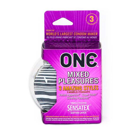(4 Pack) One Mixed Pleasures Variety Pack Assorted Lubricated Latex Condoms - 3 ct