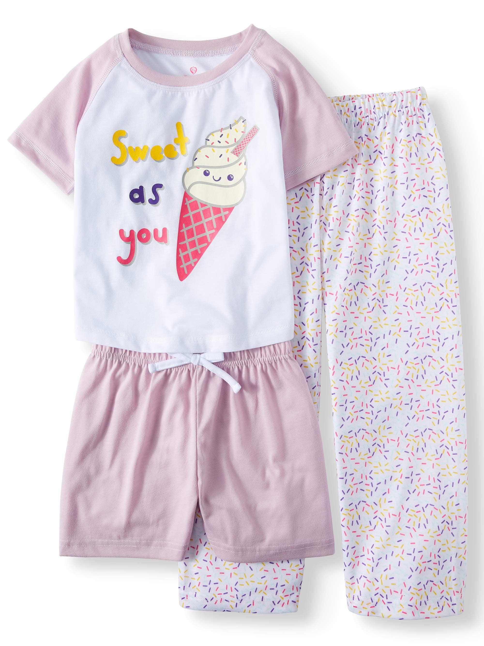 Top, Pants & Shorts, 3pc Pajama Set (Toddler Girls)