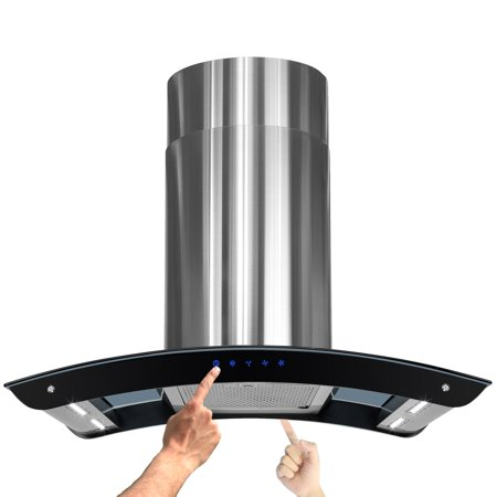 "Image of AKDY 36"" Stainless Steel Island Mount Range Hood w/ LED Strips and Dual Touch Control Panel"