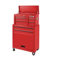 Frontier 24-inch 5 drawer tool chest organizer combo in RED. Includes top and bottom chest