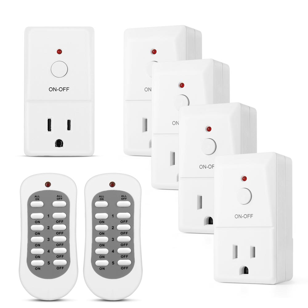 Wireless Remote Control Outlet Switch (5 Pack 2 Remotes) - Electrical Remotely AC Power Adapter Socket Plug On and Off Converter Kit For Indoor Home Light Lamps Household Appliance