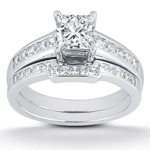7 8ct Princess Cut Channel Set Diamond Wedding Engagement Ring 14K White Gold by Pompeii3