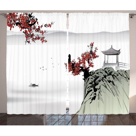 Asian Decor Curtains 2 Panels Set  Asian River Scenery With Cherry Blossoms And Boat Cultural Hints Mystical View Artsy Work  Living Room Bedroom Accessories  By Ambesonne