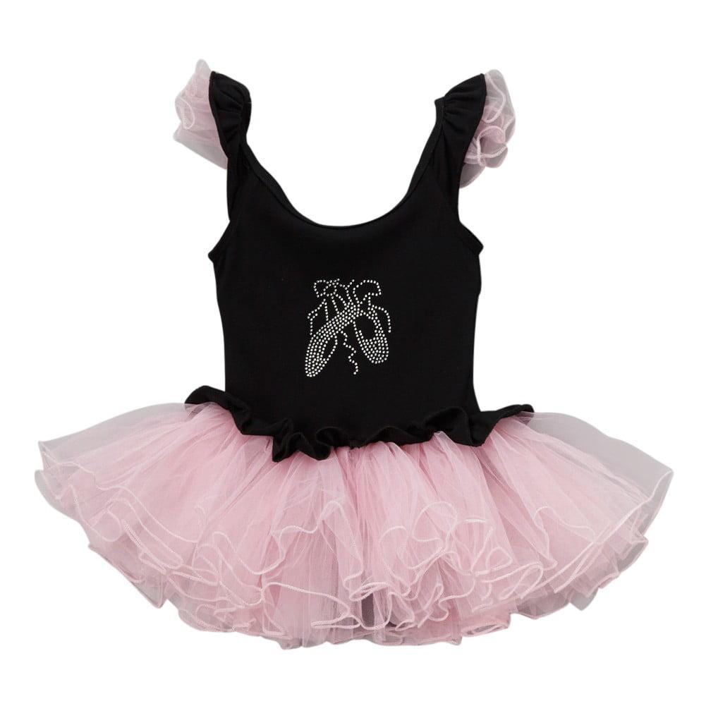 Girls Black Pink Ballet Slipper Ruffle Skirted Leotard 12M-10