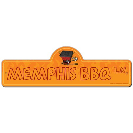 Memphis Bbq Street Sign | Indoor/Outdoor | Funny Home Decor for Garages, Living Rooms, Bedroom, Offices | SignMission personalized