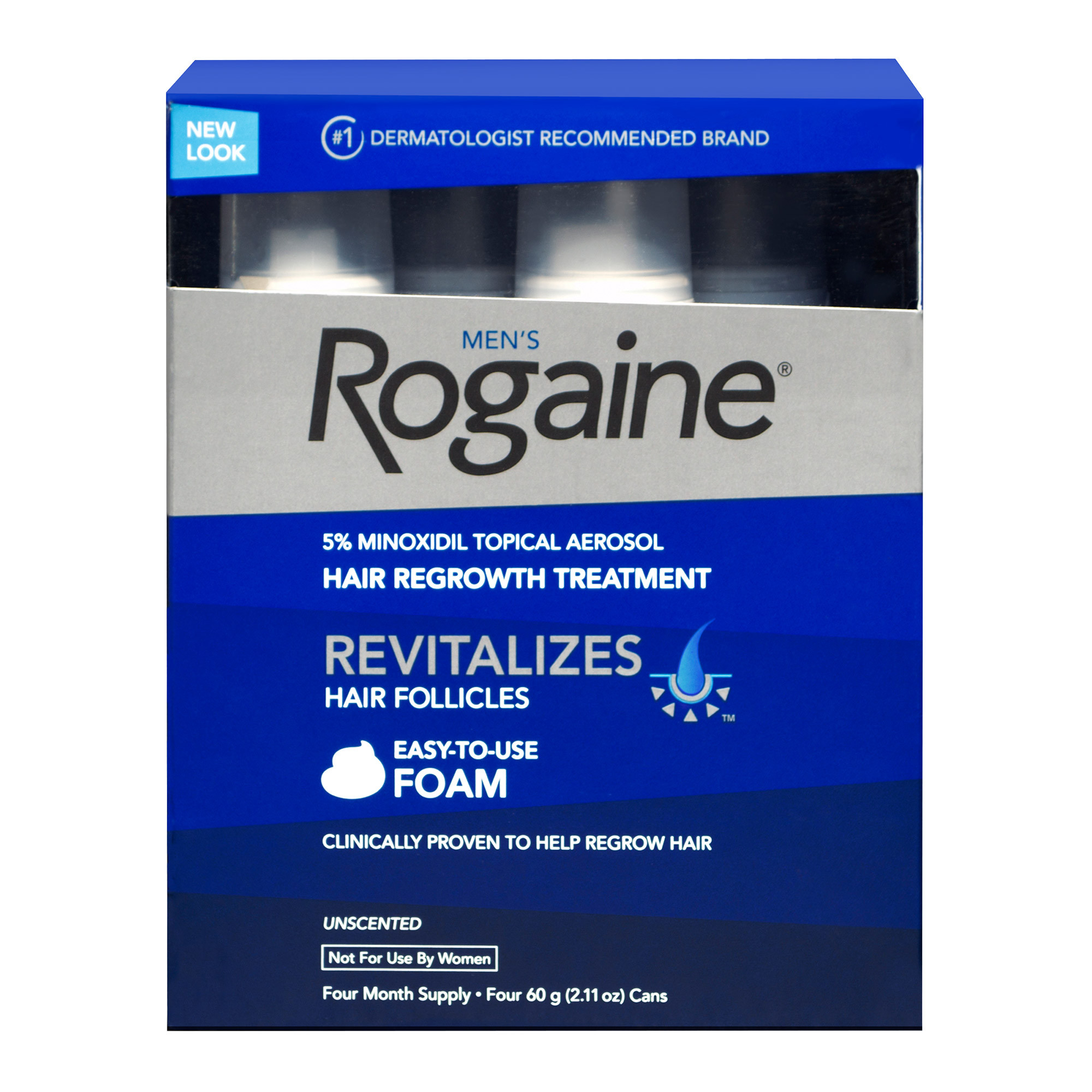 Rogaine for Men Hair Regrowth Treatment Extra Strength 4-pack Foam Solution