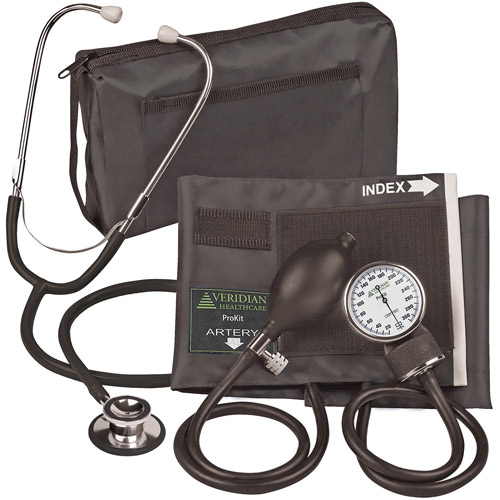 ProKit Aneroid Sphygmomanometer with Dual-Head Stethoscope, Adult, Black
