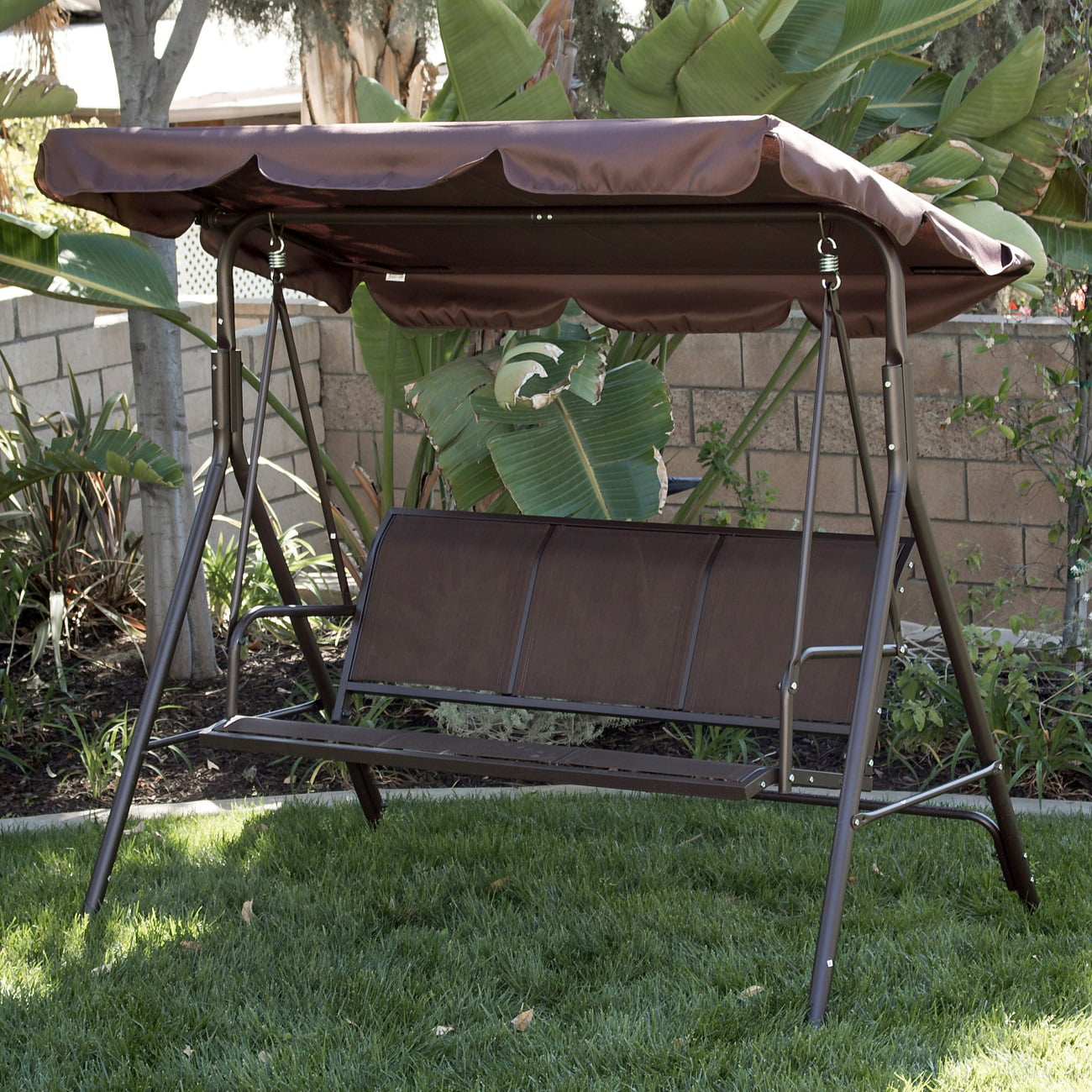 BELLEZE Porch Swing Glider Outdoor Chair Top Tilt UV Resistant Shade Steel Frame 3 Seater Adjustable Sunshade Dark Brown by Belleze