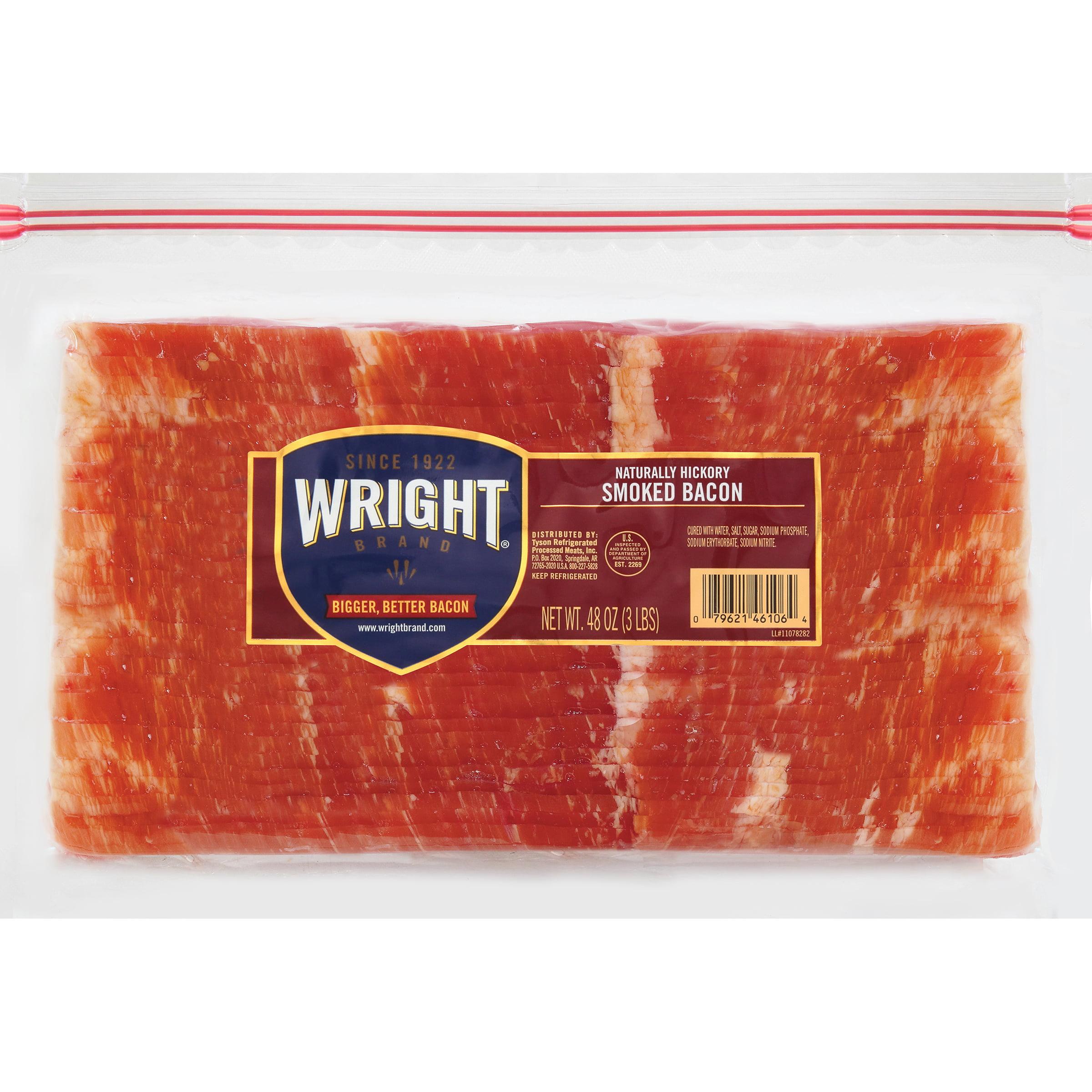 Wright Brand® Thick Sliced Hickory Smoked Bacon, 3 Lb.   Walmart.com