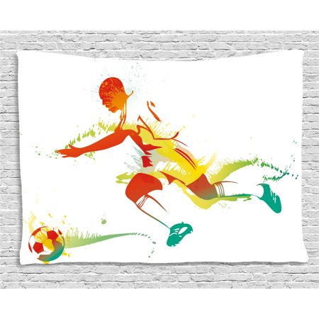 Teen Room Decor Tapestry, Young Man Playing Soccer Football Athlete Game Champion Paintbrush Artwork, Wall Hanging for Bedroom Living Room Dorm Decor, 60W X 40L Inches, Multicolor, by Ambesonne for $<!---->