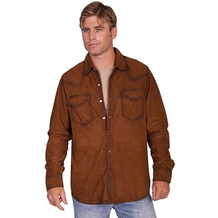 fbaea53dcf7e Scully Western Shirt Mens Leather Pearl Snap L/S Bark 78-142