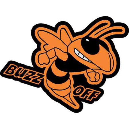 Hornets Vinyl Skin (3.75in × 2.75in Orange Right Buzz Off Hornet Sticker Vinyl Vehicle)