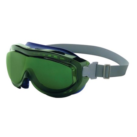 Uvex Shade (Uvex Flex Seal Indirect Vent Over The Glasses Goggles With Navy Blue Light Weight Silicone Frame, Shade 5.0 Green Uvextreme Anti-Fog Lens And Neoprene Headband )