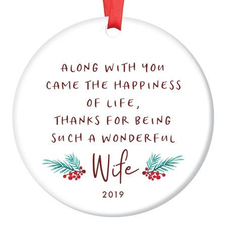 Gift for Wife, Christmas Ornament 2019 For My Wife Poem Present Idea from Husband for Wives Newlywed Couple Married Xmas Wedding Ceramic 3