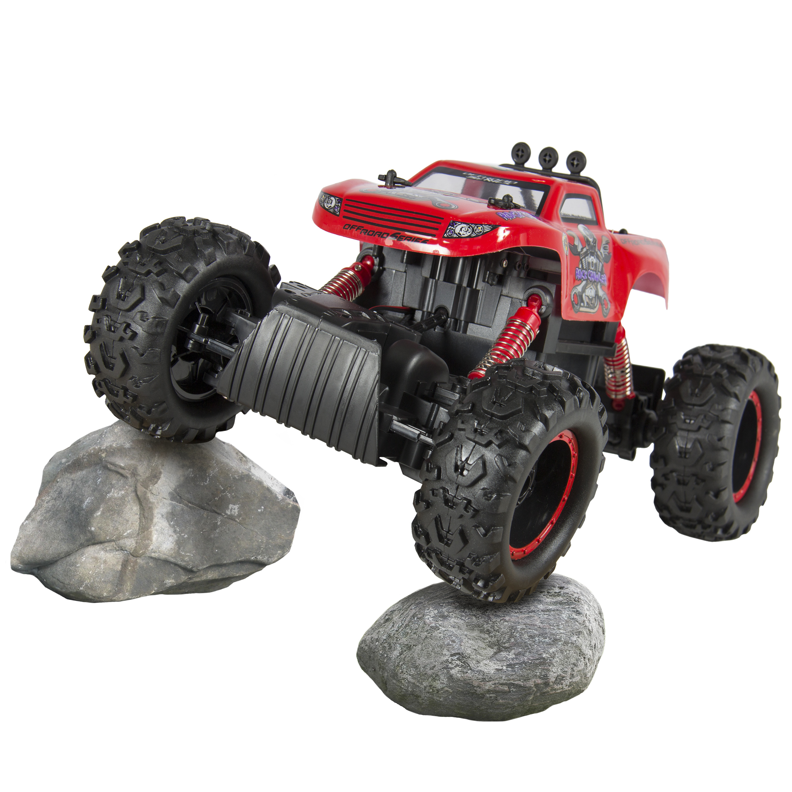 Powerful Remote Control Truck RC Rock Crawler, 4x4 Drive & Monster Wheels Red