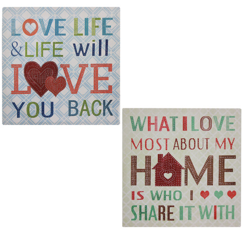EC World Imports 2 Piece Love Life and What I love Canvas Wall Decor Set by ecWorld