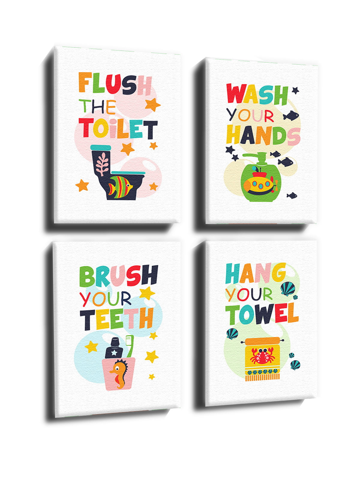 Awkward Styles Kids Bathroom Framed Canvas Wall Decor Set Of Four Wall Art For Home Gifts Kids Bathroom Decor Bathroom Wall Art For Children Colorful Decals Set Of 4 Printed Quotes For