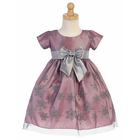 Made in the USA - Pink & Silver Snow Flake Glitter Tulle Holiday / Christmas Girls' Dress w/ Bow - Snow Coming Dresses