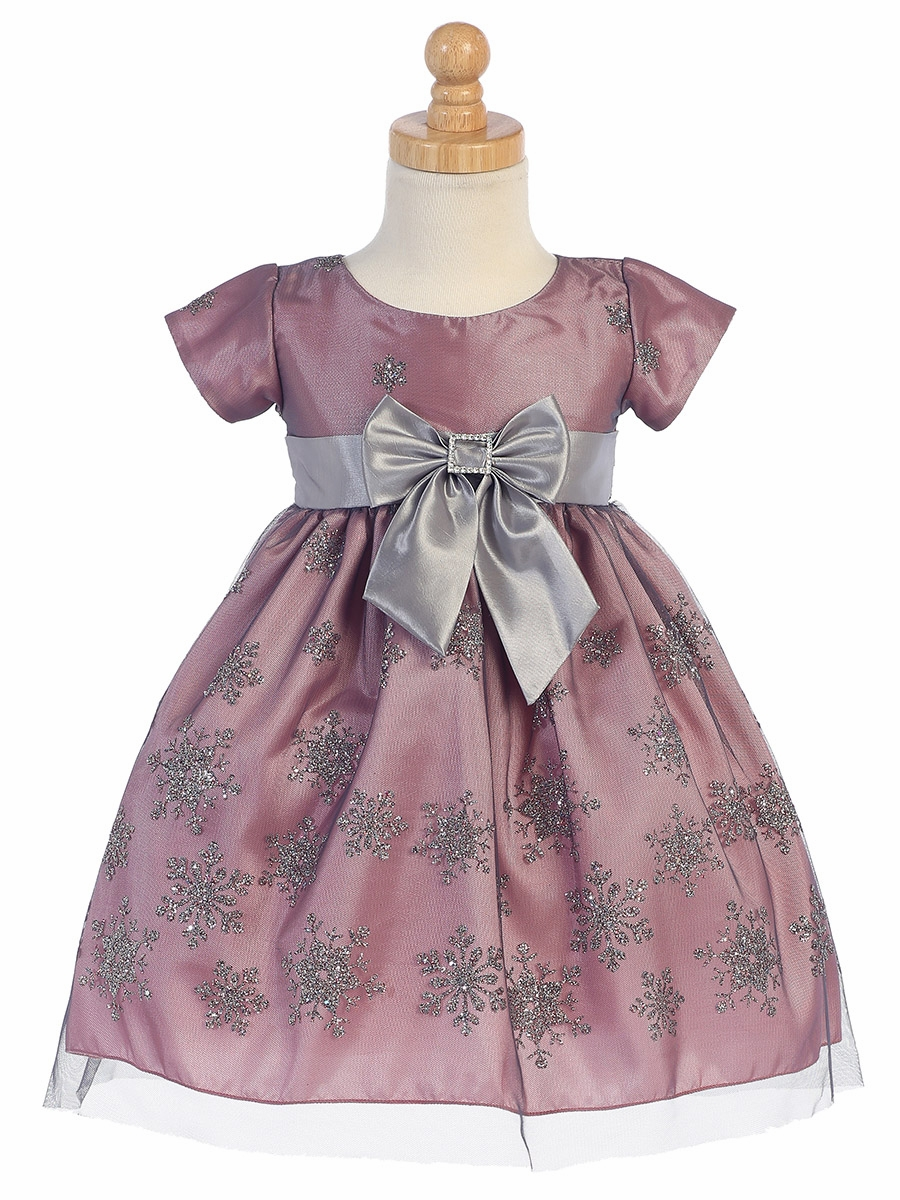 Made in the USA - Pink & Silver Snow Flake Glitter Tulle Holiday / Christmas Girls' Dress w/ Bow