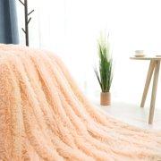 "Warm Shaggy Faux Fur Plush Decorative Throw Blanket 51"" x 59"" Light Orange"