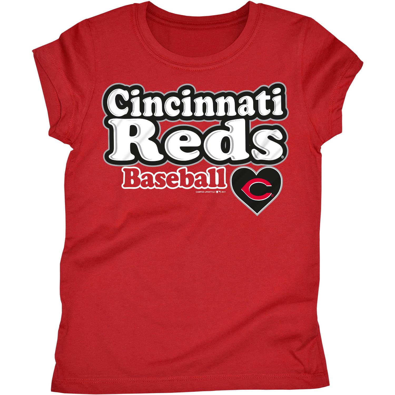 MLB Cincinnati Reds Girls Short Sleeve Team Color Graphic Tee