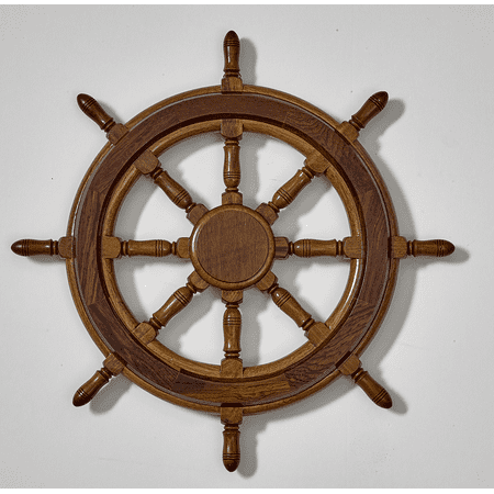 Decorative Wooden Ship's Wheel Wall Decor - Large, Antique Ship Steering Wheel, Nautical Beach Wall Mount Decor for Living Room, 20