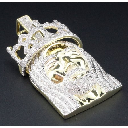 Diamond Crown Charm - Mini Diamond Jesus Face Pendant .925 Sterling Silver Crown on Head Charm 1 Ct
