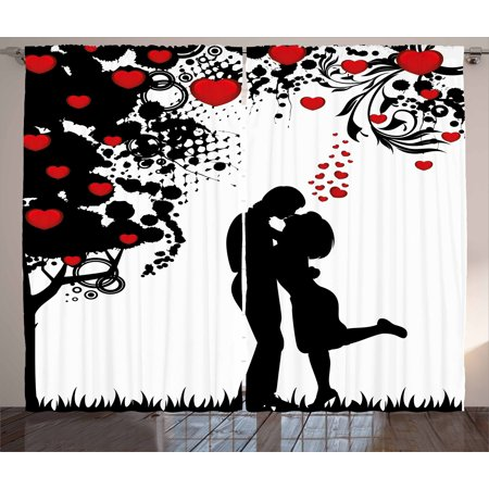 Valentine Window (Kiss Curtains 2 Panels Set, Silhouette of Lovers near Abstract Tree with Red Hearts Valentine's Day Concept, Window Drapes for Living Room Bedroom, 108W X 84L Inches, Red Black White, by Ambesonne )