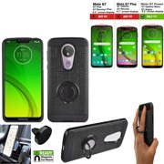 Phone Case for Straight Talk Moto g7 Optimo Maxx Prepaid Smartphone, Moto G7 Power Case, Moto G7 Supra Case  +Car Mount +shock absorbing Ring Cover Stand (Slim Ring Black +Car mount)