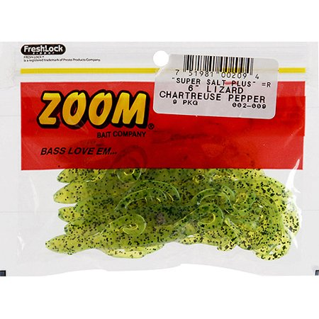 Zoom Lizard Fishing Baits, Chartreuse Pepper, 9pk