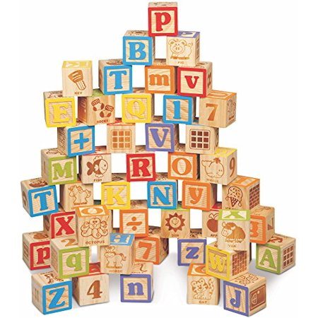 Maxim Deluxe Wooden ABC Blocks. Extra-Large Engraved Baby Alphabet Letters Counting & Building Block Set - image 1 de 2
