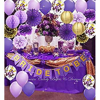 Bachelorette Car Decorations (Purple Gold Bridal Shower Decorations Qian's Party Purple Gold Confetti Ballons Polka Dot Fans/Bride to Be Banner Purple Gold, Hen Party Engagement Banner Bachelorette Party)