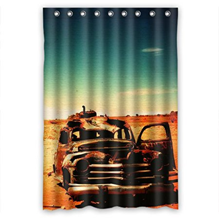 HelloDecor Old Deserts Outback Unique Jeep Shower Curtain Polyester Fabric Bathroom Decorative Curtain Size 48x72 Inches