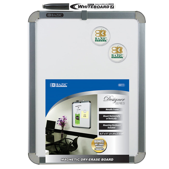 """BAZIC 8.5"""" X 11"""" Magnetic Dry Erase Board w/ Marker & 2 Magnets, Case of 12"""