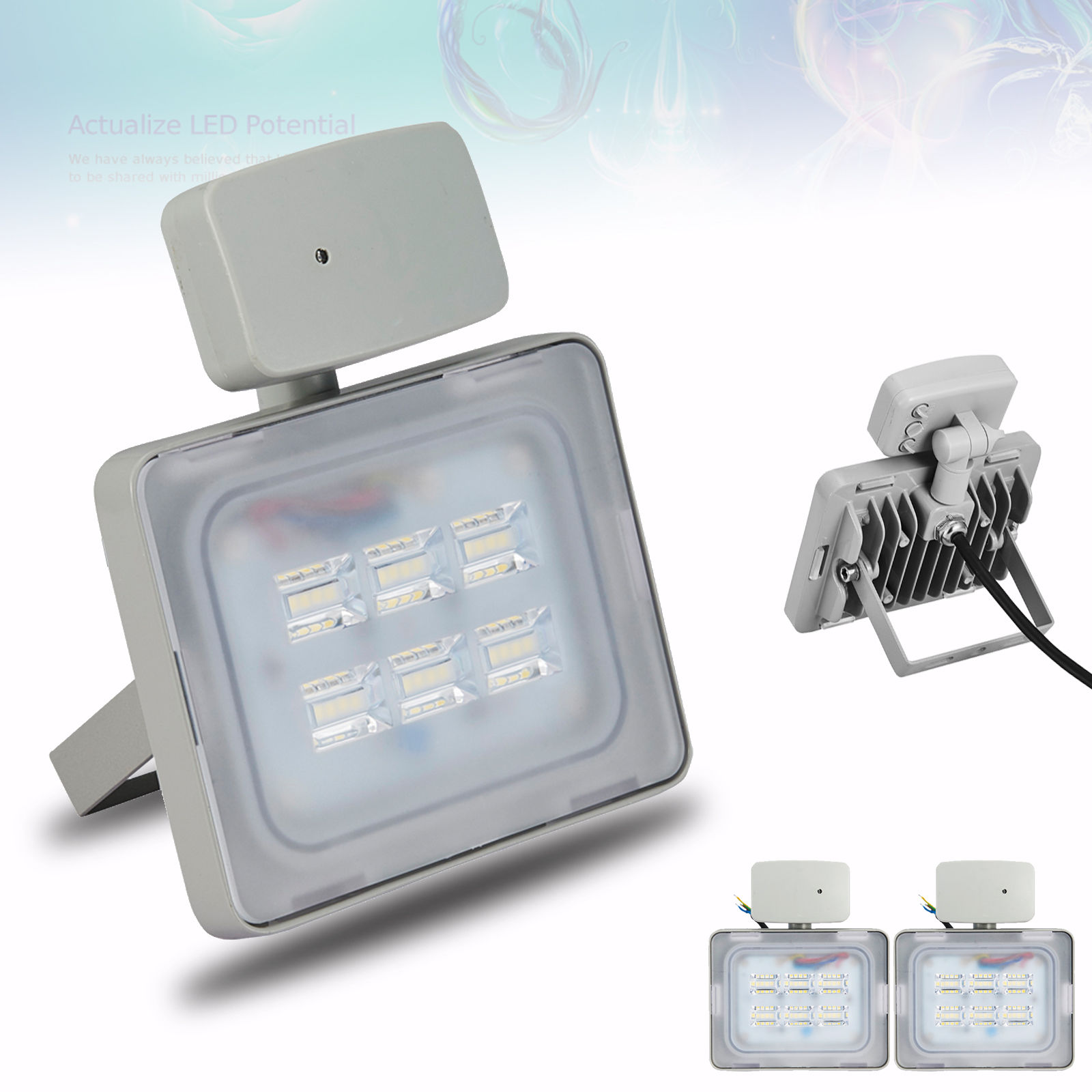 2X Viugreum 20W LED Floodlight Outdoor Garden Lamp Cool White, Microwave Sensor