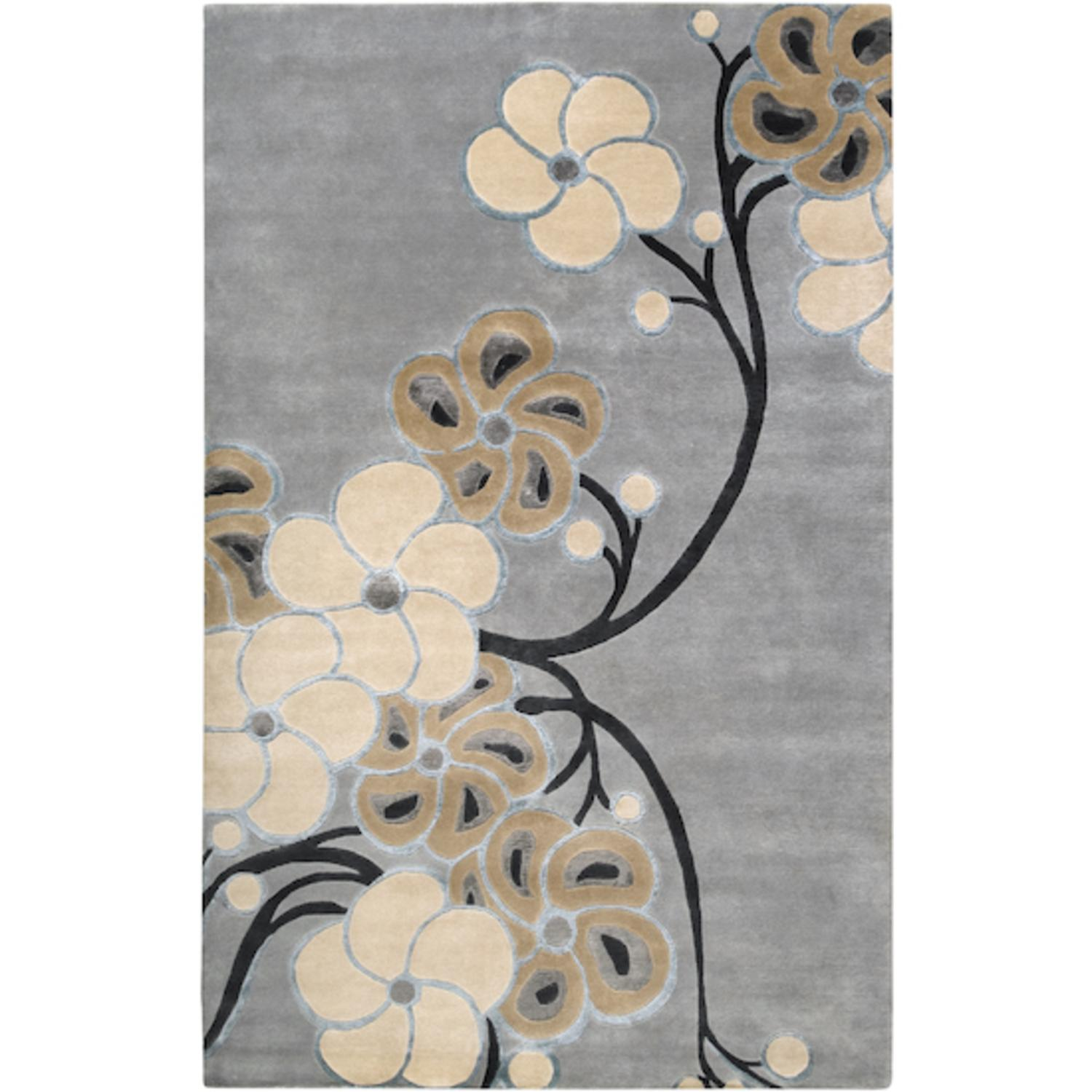 9' x 13' Floral Medley Flax Seed and Dark Khaki Wool Area Throw Rug by CC Home Furnishings
