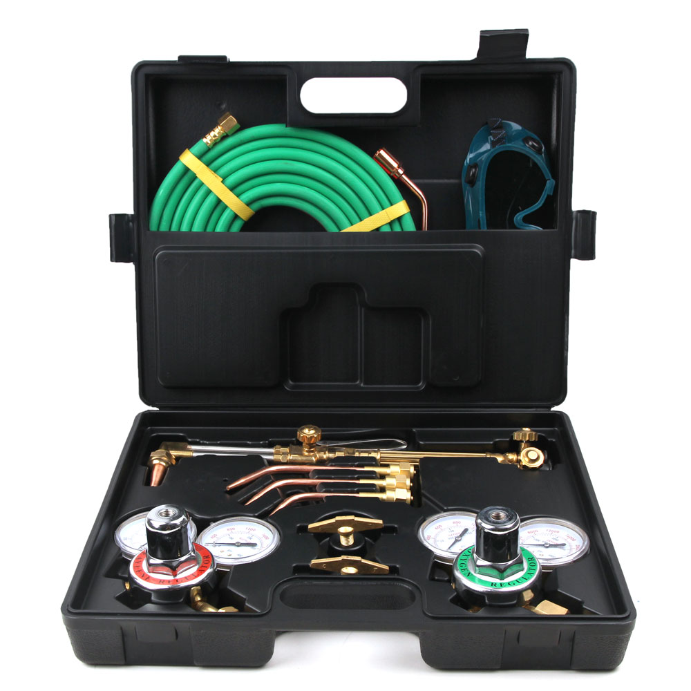 "Ktaxon Gas Welding & Cutting Kit, Portable Oxygen Acetylene Regulator Welder Victor Type Torch Kit, Include No. 0, 2 ,4 Nozzles & 15' x 1/4"" Twin Color Hose, for Welding Cutting"