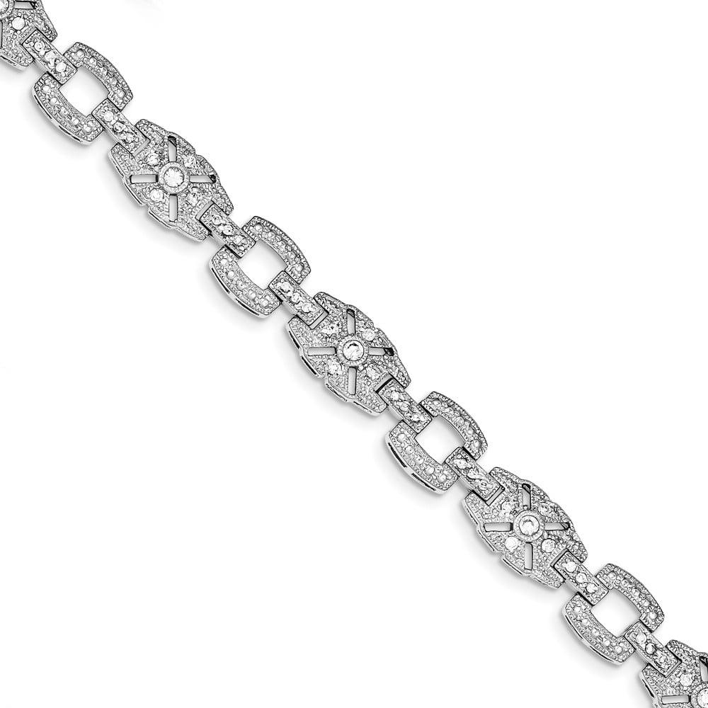 Sterling Silver Vintage Style CZ Bracelet.