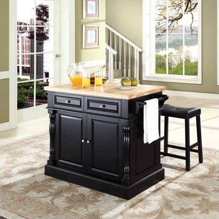 Crosley Furniture Butcher Block Top Kitchen Island with Upholstered Saddle Stools, Multiple