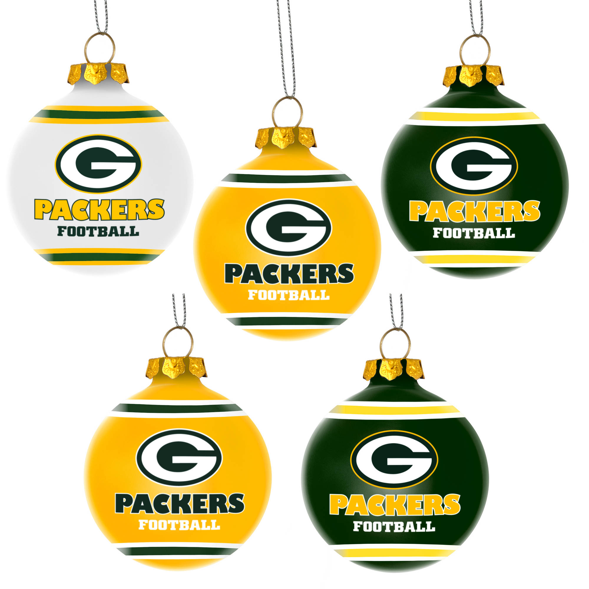 forever collectibles nfl 5 pack shatterproof ball ornaments green bay packers walmartcom - Green Bay Packers Christmas Ornaments