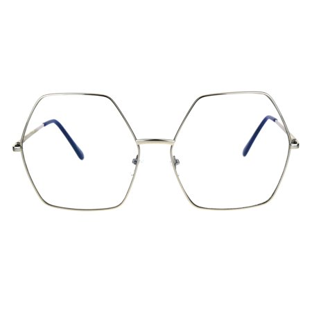 Womens Oversize Octagon Hippie Groovy Retro Clear Lens Eye Glasses Silver