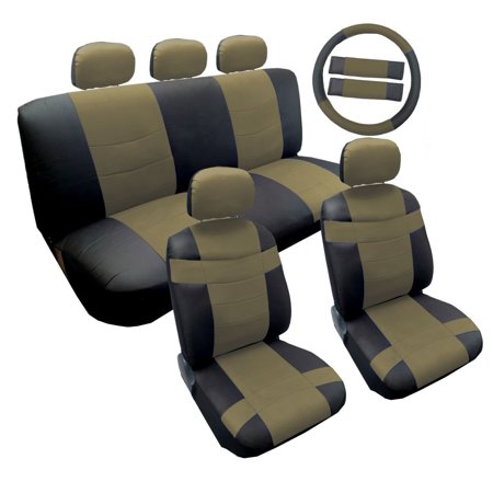 "14 Piece Luxury Two Tone PU Synthetic Leather Universal Seat Cover Set Accent ""Superior"" 2 Front Bucket Seats - Bench - 5pc Headrest Cover - Steering Wheel - Seat Belt Pads (Lively Tan)"