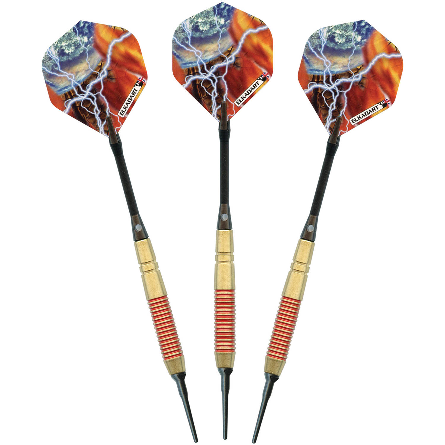 Elkadart Storm Soft Tip Darts, Red Rings, 16g